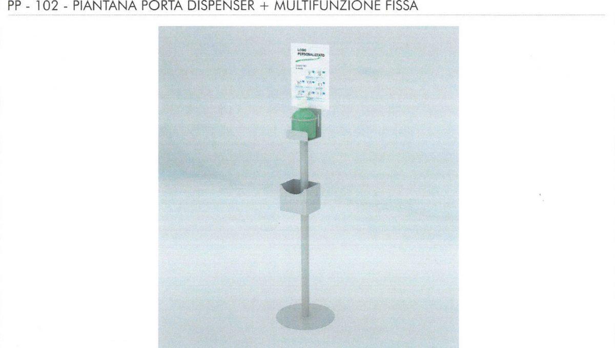 Piantana porta Dispenser + Multifunzione fissa - PP 102